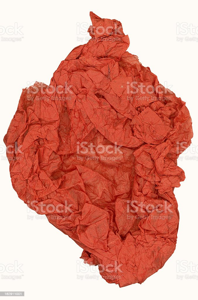 Crumpled red paper royalty-free stock photo