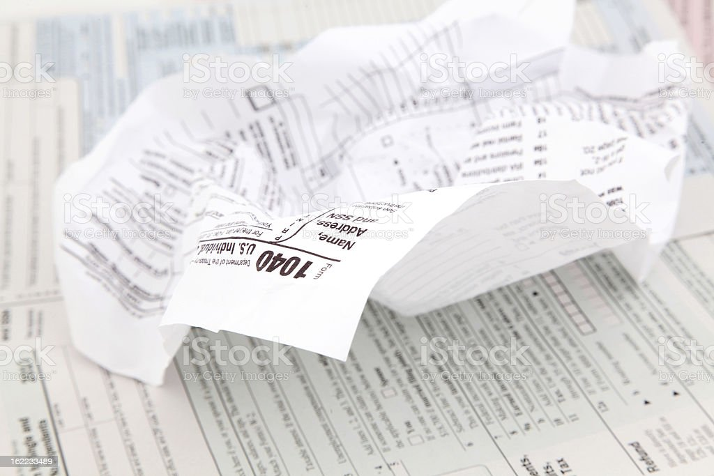 Crumpled Tax Form stock photo