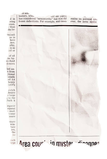 crumpled torn out newspaper clipping with blank space - typescript stock pictures, royalty-free photos & images