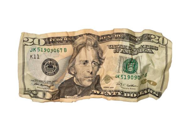 Crumpled Twenty Dollar Bill stock photo