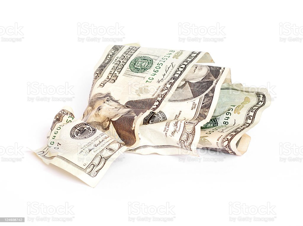 Crumpled Twenty Dollar Bills stock photo
