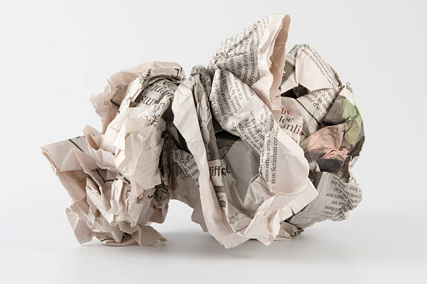Crumpled wad of paper for trash stock photo