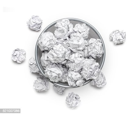 istock Crumpled, wastepaper, junk garbage can recycle and trash, bin, rubbish 521007086