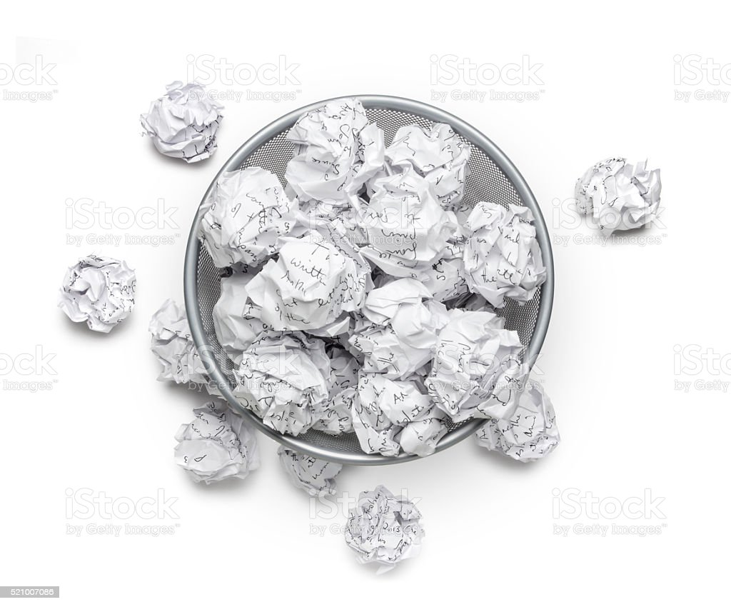 Crumpled, wastepaper, junk garbage can recycle and trash, bin, rubbish stock photo