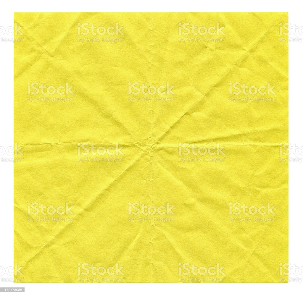 Crumpled yellow paper textured background royalty-free stock photo