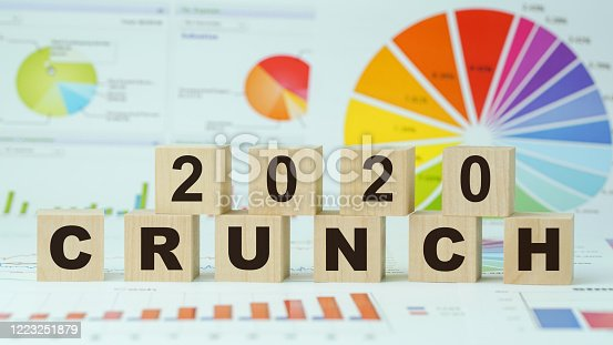 crunch 2020 inscription on wooden blocks business concept graph and diagram background