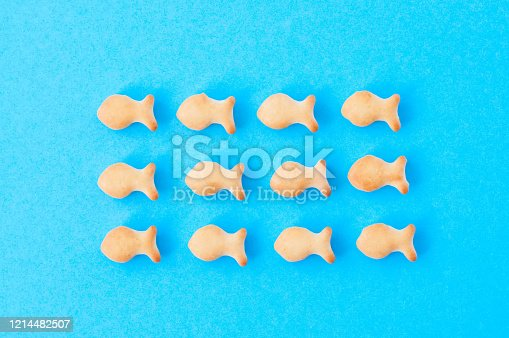 Crunchy fish crackers on a blue background. Flock symbol concept.