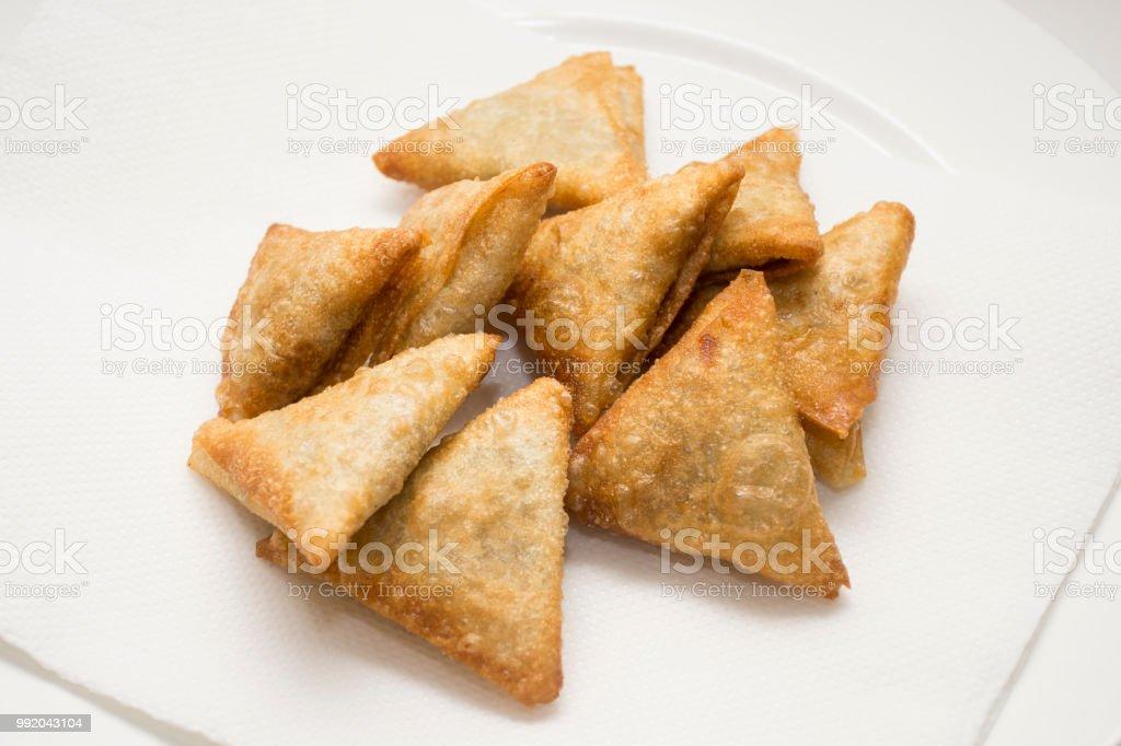 crunchy fried samosas stock photo