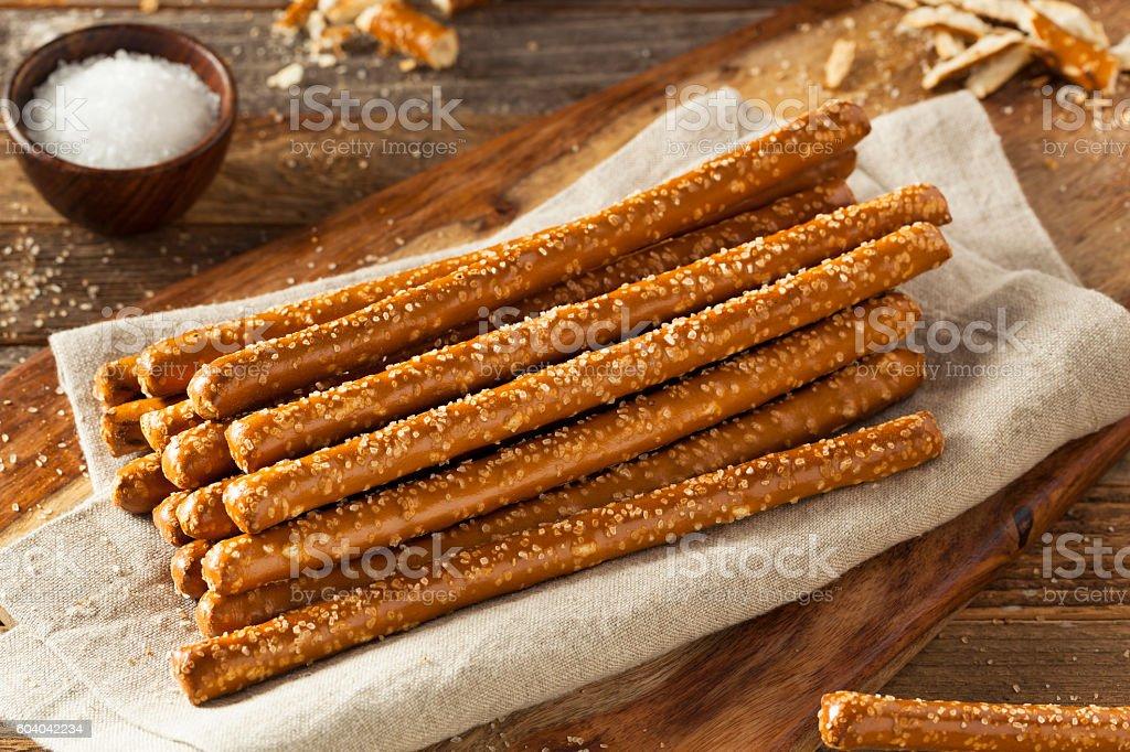Crunchy Salty Pretzel Rods stock photo