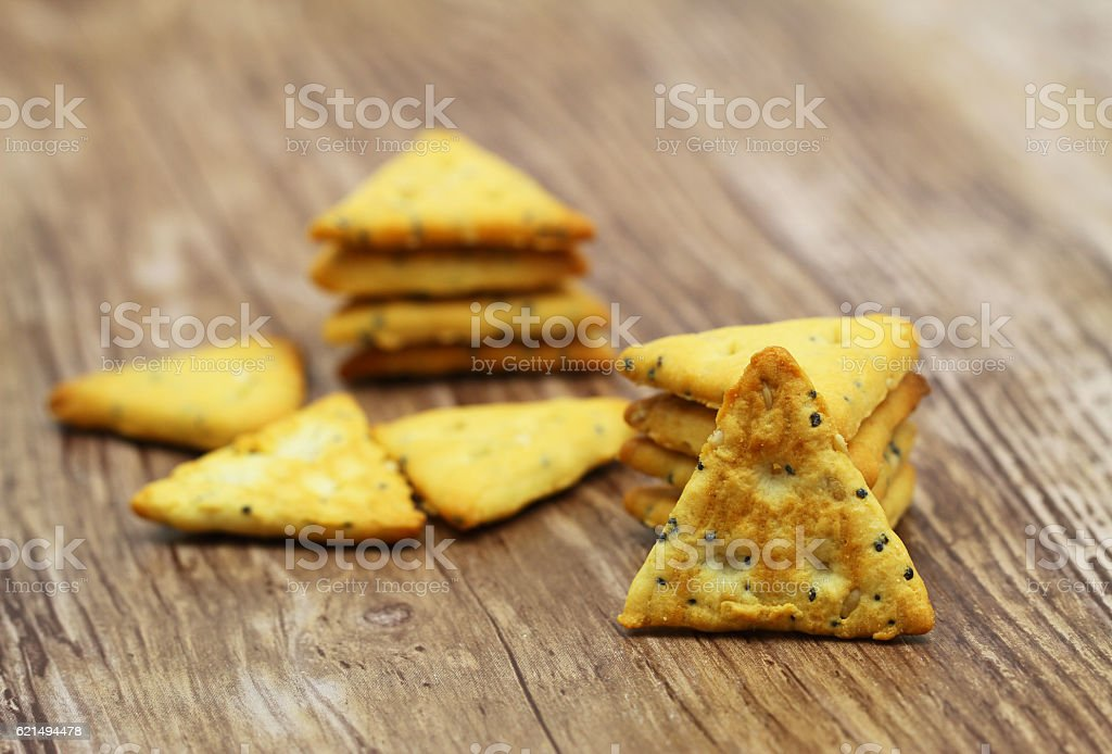 Crunchy salty snacks with sesame seeds and poppy seeds foto stock royalty-free