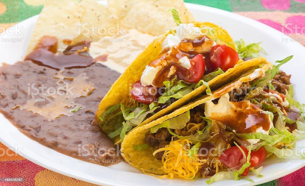 Crunchy Tacos closeup stock photo