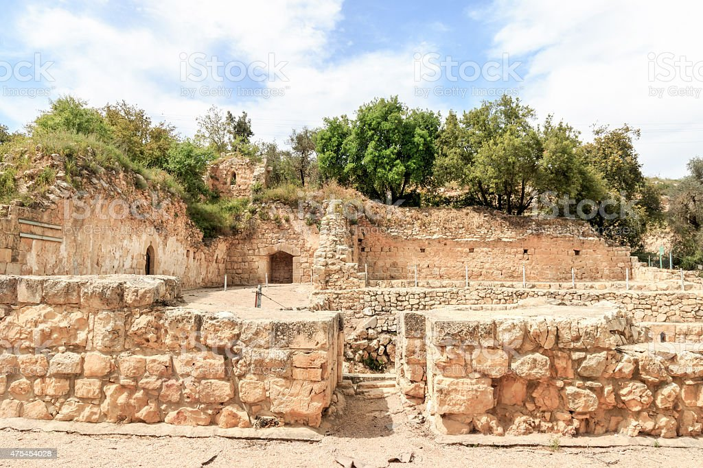 Crusader Farmhouse Ruins - Aqua Bella Springs near Jerusalem stock photo