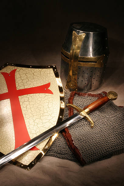 crusader knight's shield, sword, helmet, and chain mail armor - the crusades stock photos and pictures