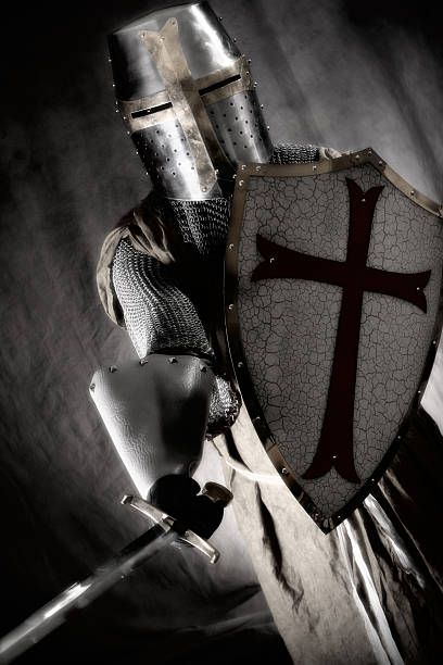 crusader on the attack - the crusades stock photos and pictures