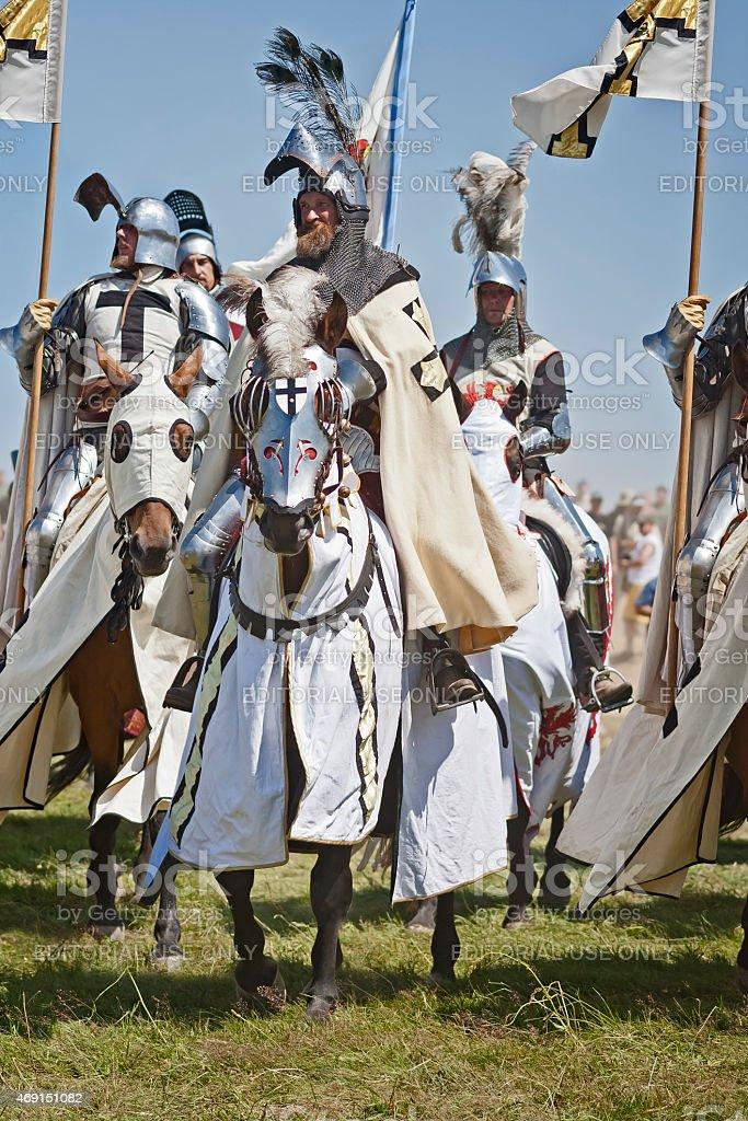Crusaders Medieval Knights, Grunwald stock photo