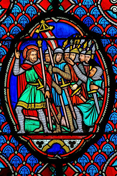 crusaders - stained glass in cathedral of tours, france - the crusades stock photos and pictures