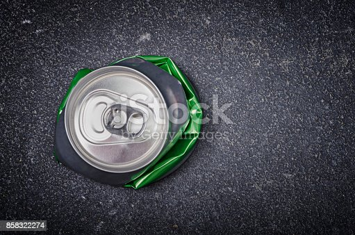 istock Crushed aluminum beer can 858322274