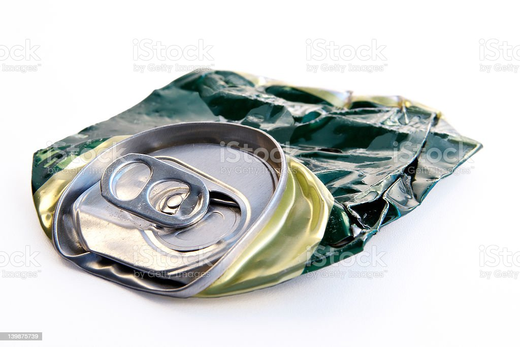 Crushed beer can stock photo