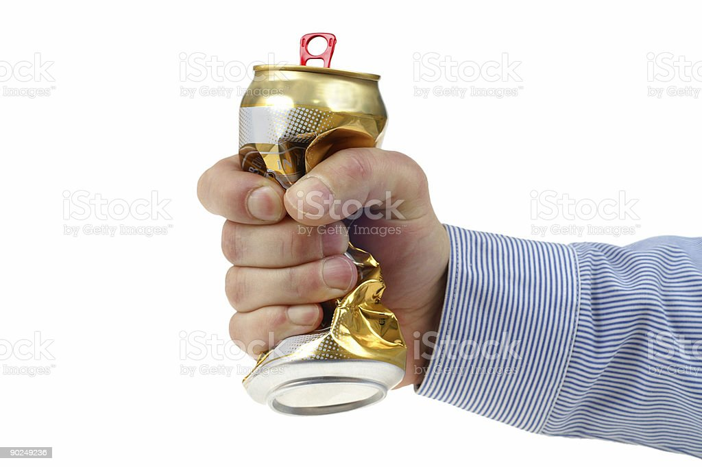 Crushed beer-can stock photo