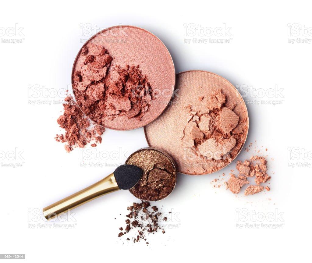 Crushed blush and eyeshadow stock photo