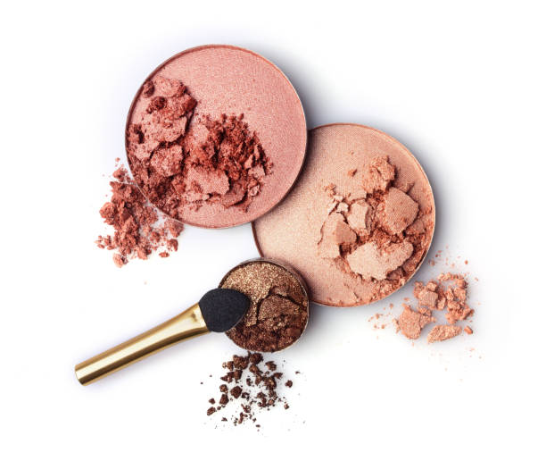 Crushed blush and eyeshadow stock photo