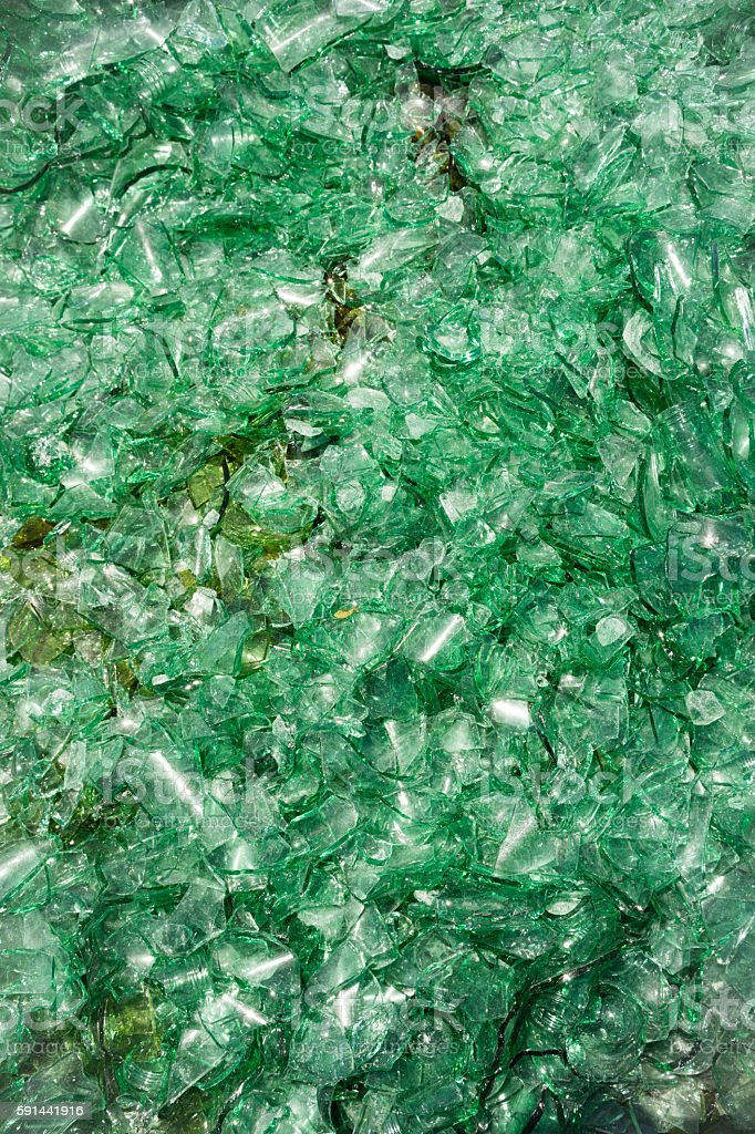 Crushed Broken Glass Bottle Recycle Sharp Green shards stock photo