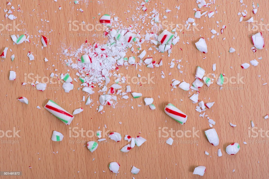 Crushed candy cane on floor stock photo
