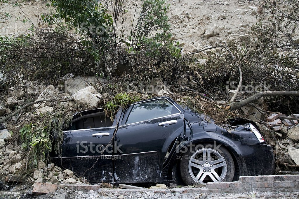 Crushed car in the Sichuan earthquake in China royalty-free stock photo