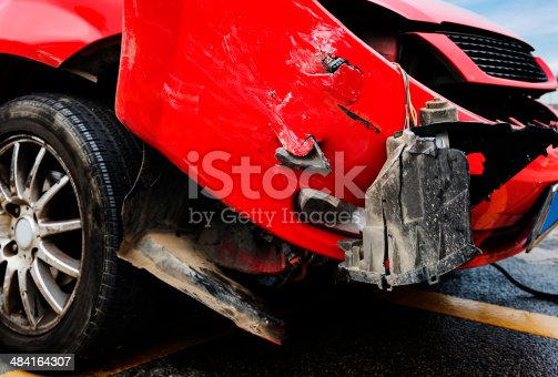 istock Crushed car 484164307