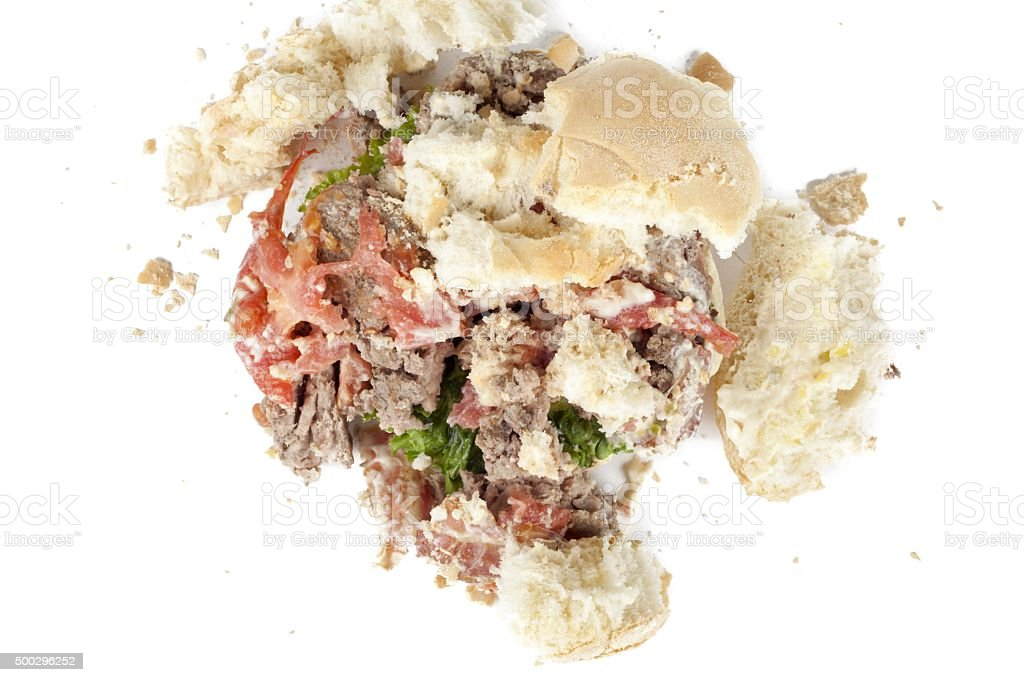 crushed chicken burger stock photo