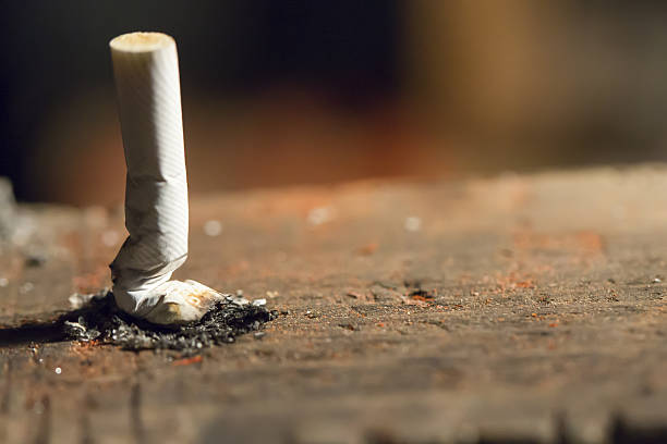 crushed cigarette - ash cross stock photos and pictures
