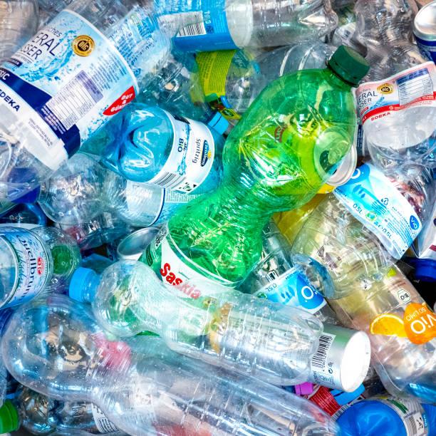 Crushed colorful plastic bottles stock photo