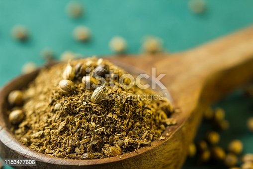 Crushed coriander powder in a spoon