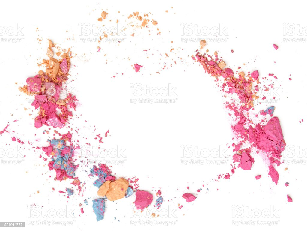 crushed eyeshadow on white background (flame design) stock photo