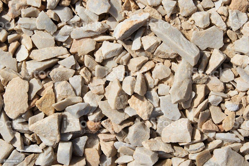Crushed gravel closeup stock photo