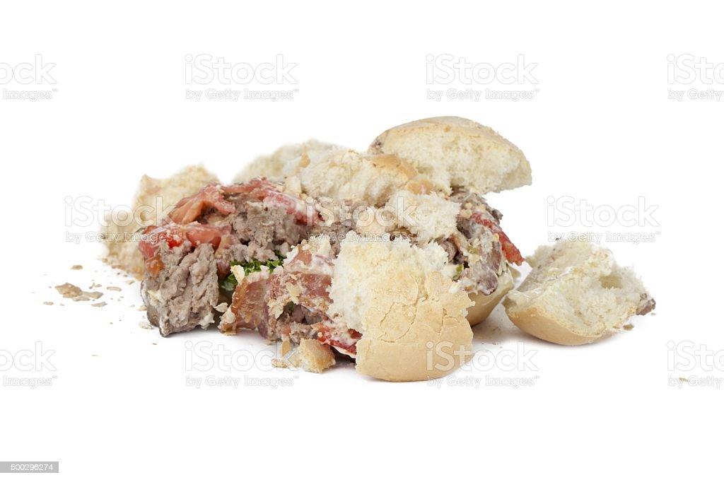 crushed hamburger stock photo