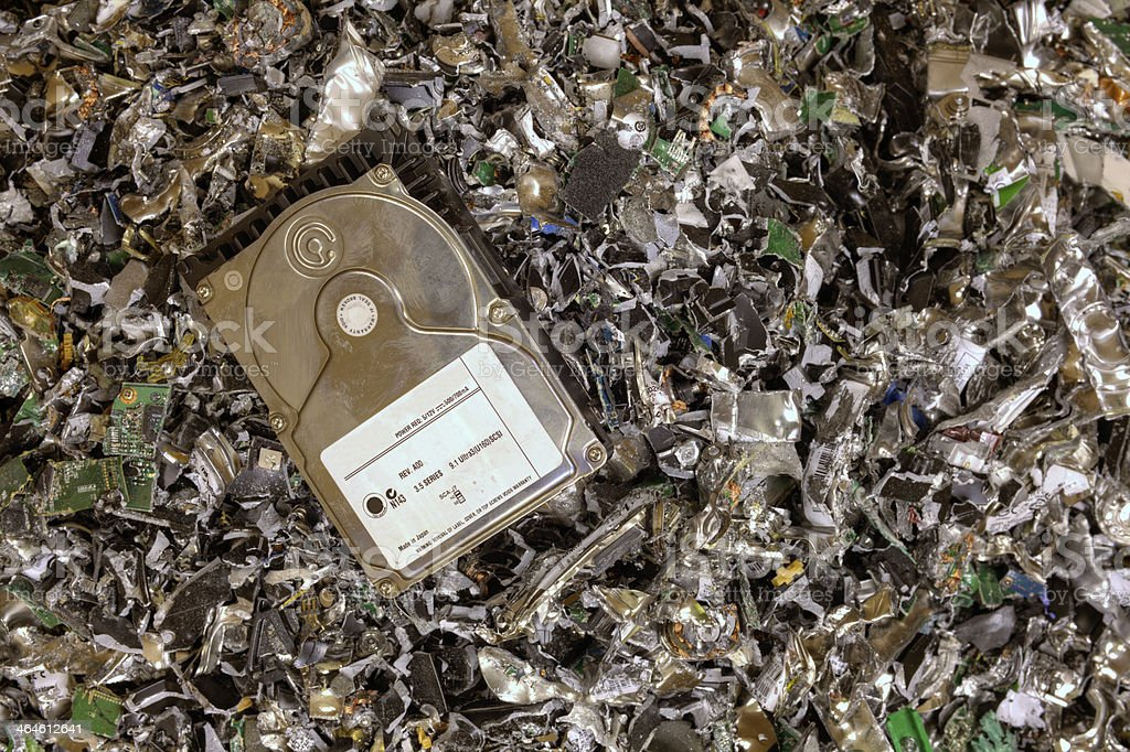 Crushed hard drives stock photo