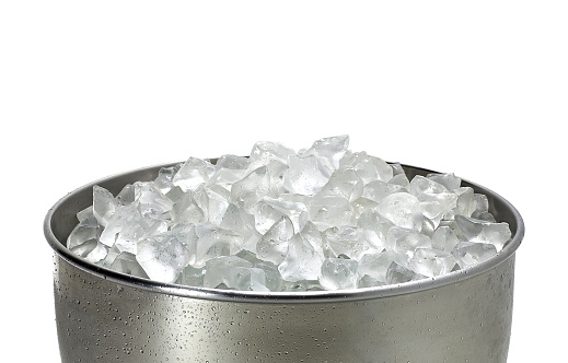 Crushed ice in bucket