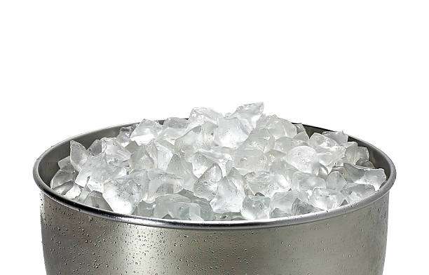 Crushed ice in bucket stock photo