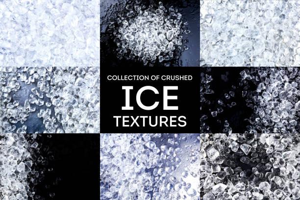 crushed-ice textur. eiswürfel auf schwarzem hintergrund. kopieren sie raum, ansicht von oben. kollektion - eiswürfel stock-fotos und bilder