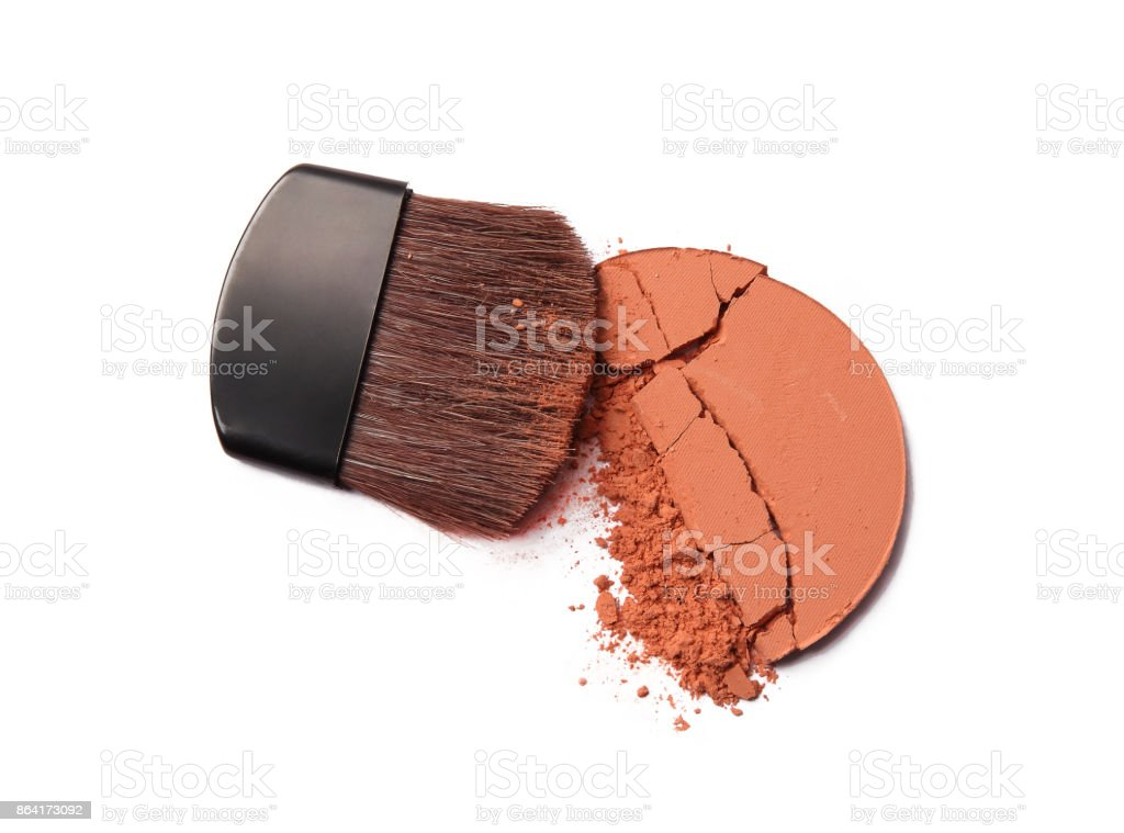 Crushed Makeup Powder And Brush royalty-free stock photo