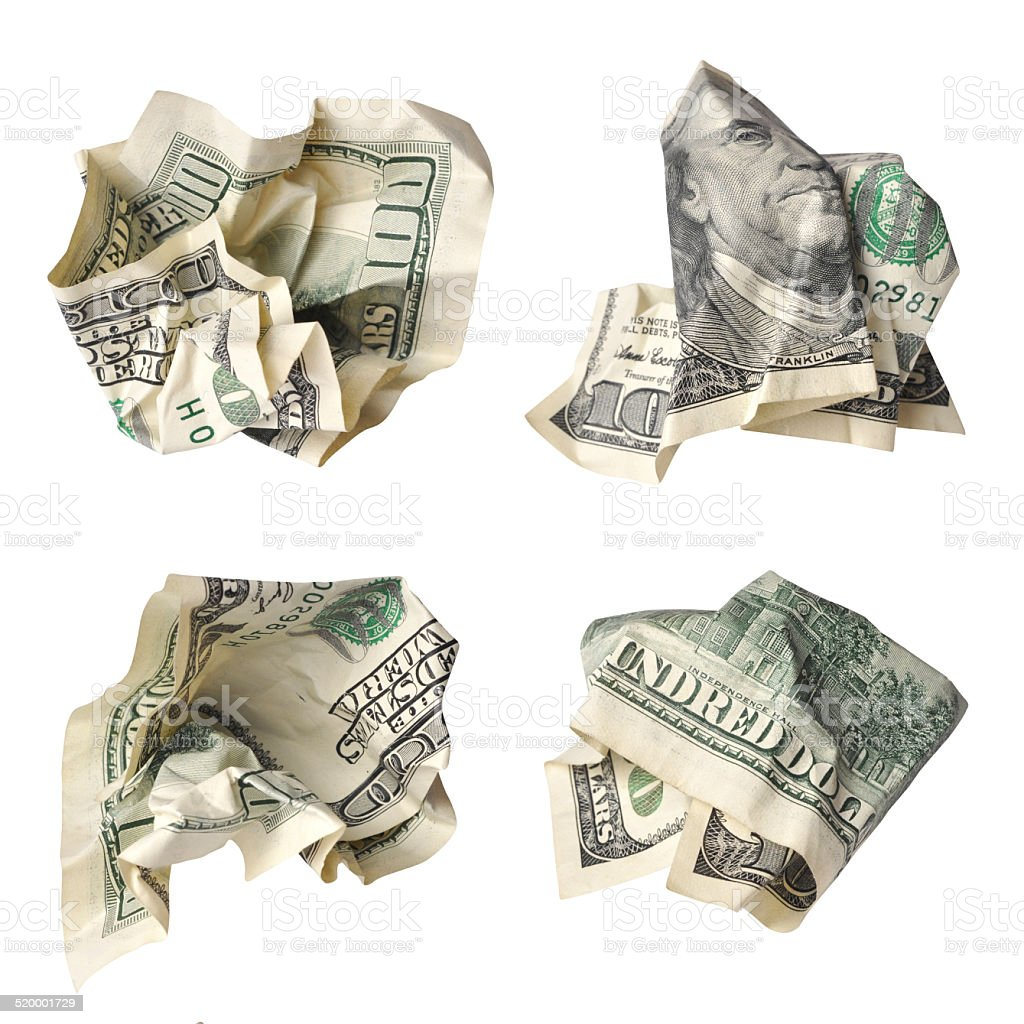 crushed one hundred dollar banknotes stock photo