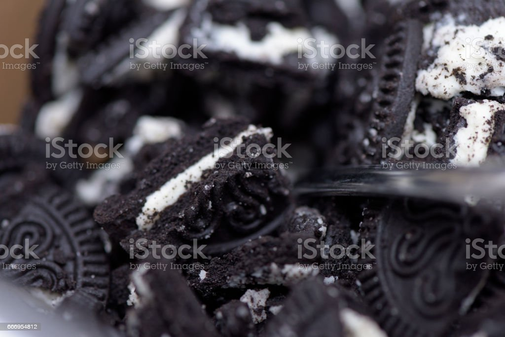 Crushed Oreo cookie topping stock photo