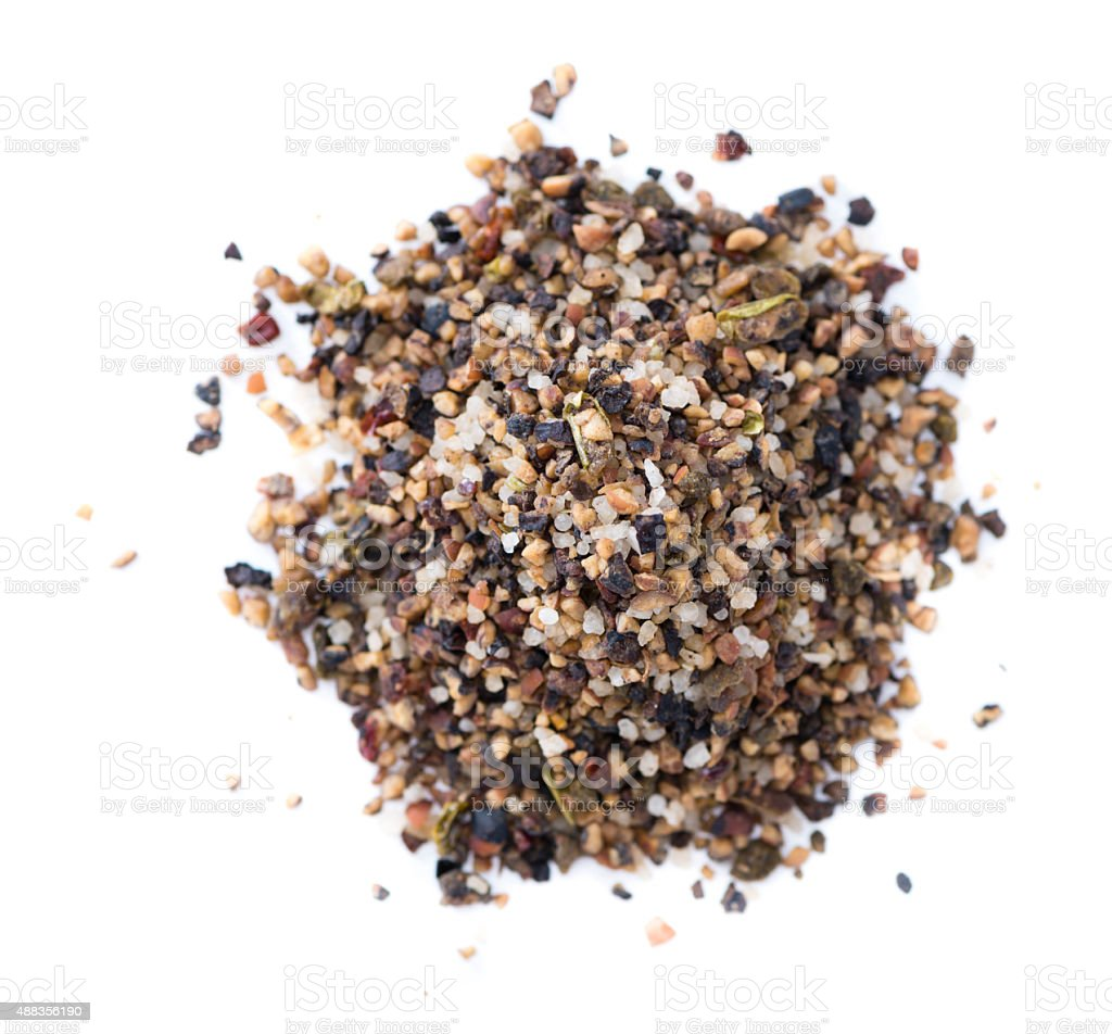 Crushed Peppercorns (isolated on white) stock photo