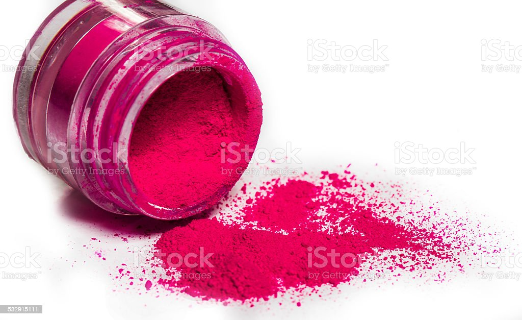 Crushed pink eyeshadow in a Jar stock photo
