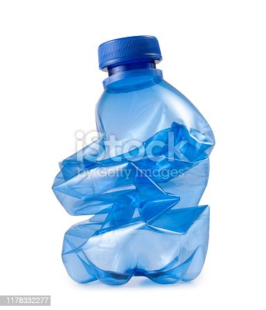 Blue plastic bottle trash waste ecology on white background.