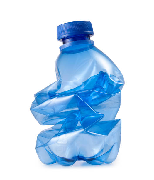 Crushed plastic bottle. Photo with clipping path. Blue plastic bottle trash waste ecology on white background. crushed stock pictures, royalty-free photos & images