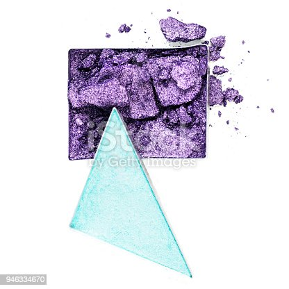 Crushed purple and blue eyeshadows on a white background.