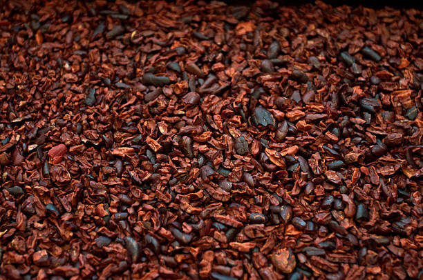 Crushed, roasted cocoa beans with husk removed stock photo