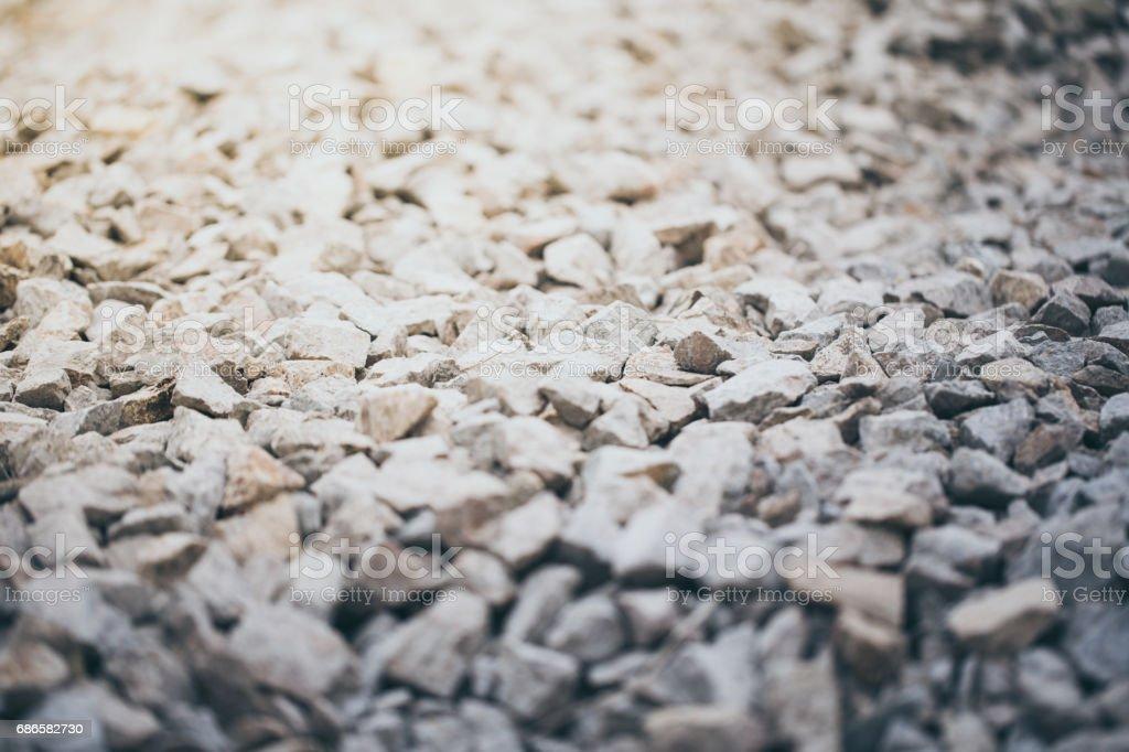 Crushed rock / gravel granite close-up stock photo